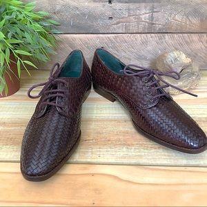 Cappagallo brown woven leather oxfords